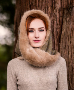 Honey blonde snood hood